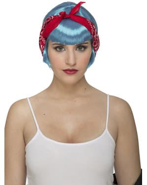 Lichtblauwe pin up pruik voor vrouw