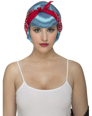 Light blue pin up wig for women