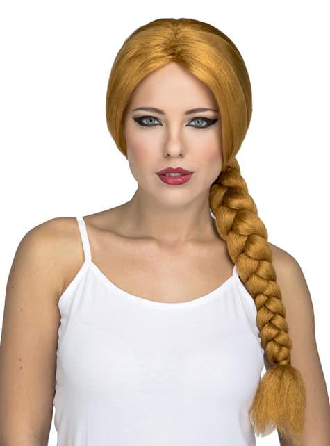 Peluca de trenza larga pelirroja para mujer