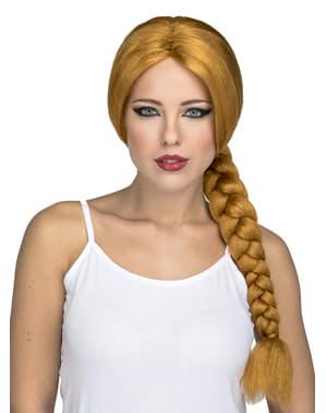 Pitkä oranssi letitetty peruukki naisille