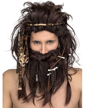 Brown caveman wig for men