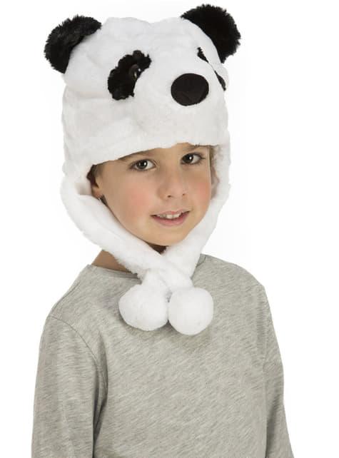 Gorro de oso panda de peluche blanco infantil