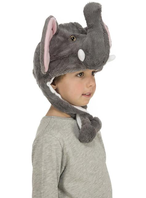 Gorro de elefante de peluche gris infantil