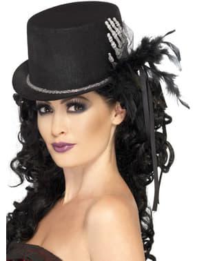 Elegante zwarte hoed met hand