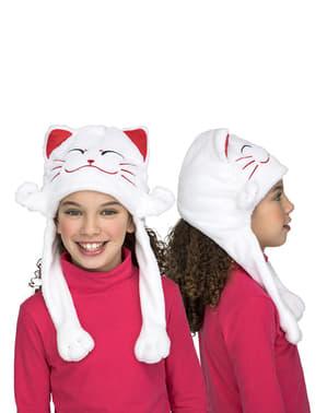 Biała czapka kot dla dzieci