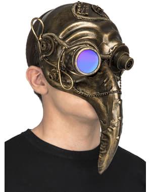 Maschera steampunk di peste dorata per adulto