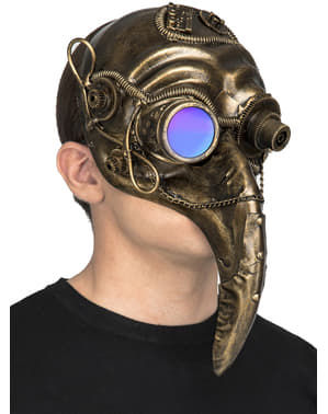 Mask steampunk pesten guldig för vuxen