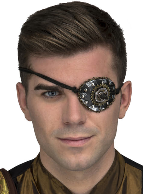 Silver Steampunk eye patch for adults