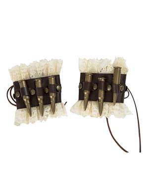Muñequeras steampunk con balas para adulto