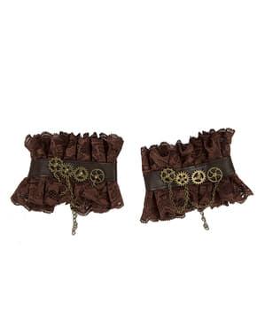 Munhequeiras steampunk com rodas dentadas para adulto