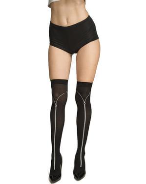 Socken schwarz mit Reißverschluss-Aufdruck für Damen