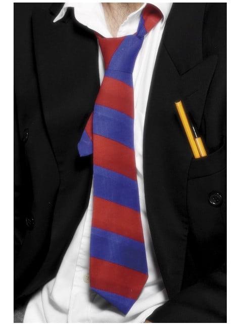 Gravata de escola vermelha e azul