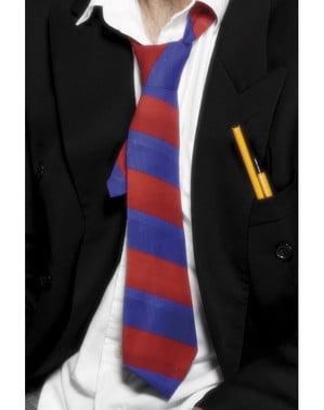 Krawat szkolny czerwono-niebieski