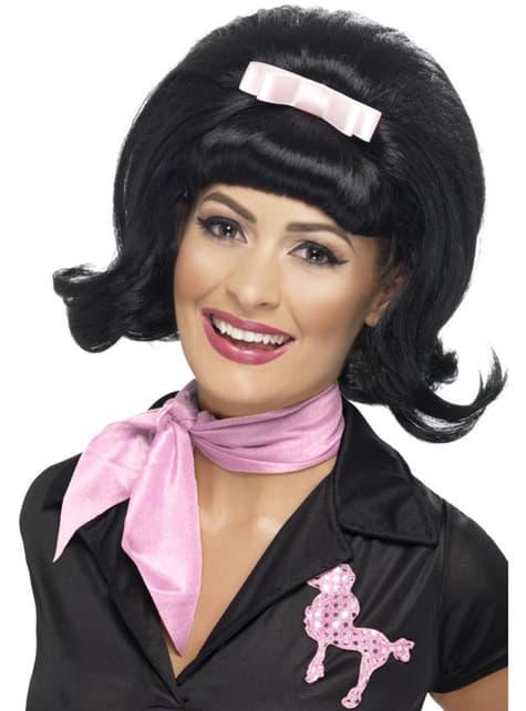 Crna perika u stilu 50-ih za žene
