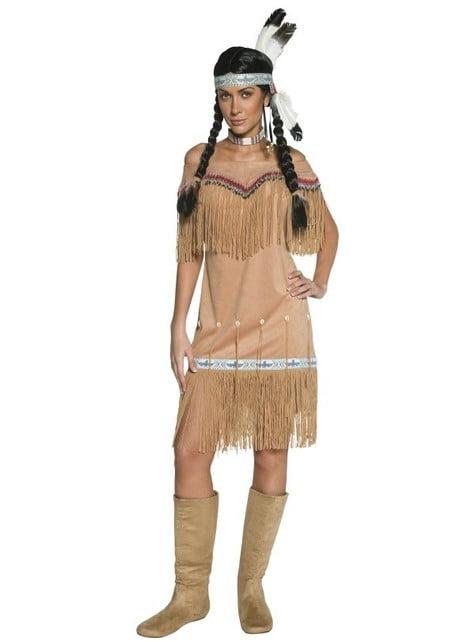 Дамски костюм на индианец от дивия запад с пискюли