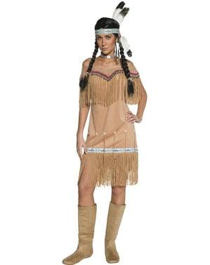 Kostum indian barat liar dengan tassels untuk seorang wanita