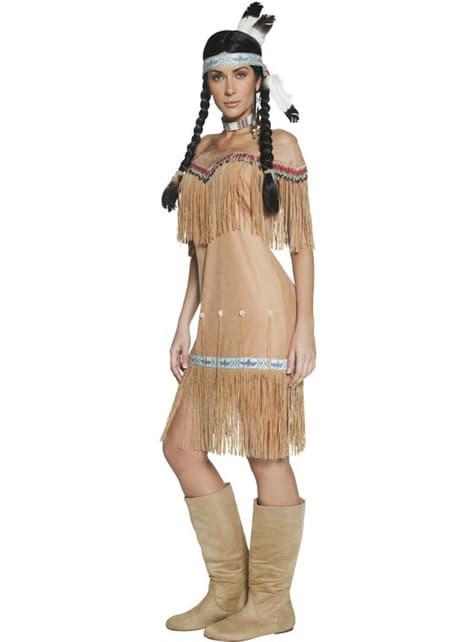 Ville Vesten Indiander kostyme med dusker for dame