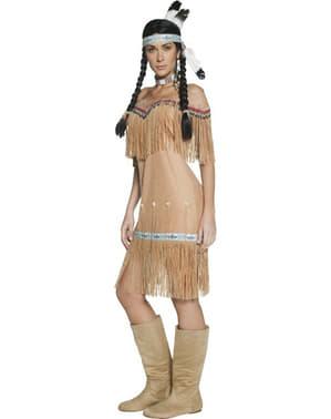 Indianer kostume til kvinde med frynser