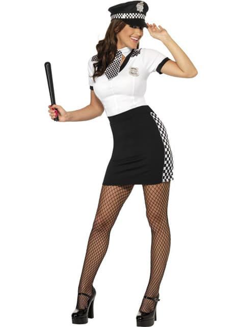 Disfraz de poli sexy blanco y negro para mujer