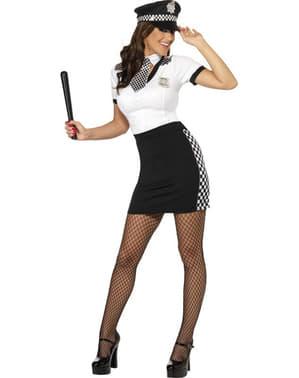 Sexy Svart og Hvit Politidame Kostyme
