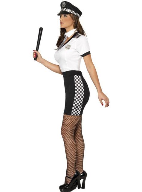 Déguisement de policière sexy blanc et noir pour femme