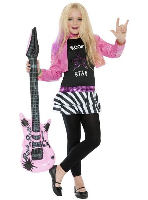 Déguisement glamour d'une star du rock pour fille