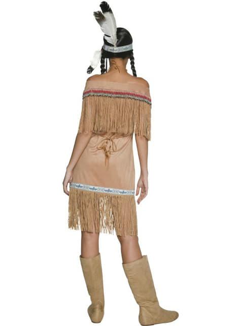 Disfraz de mujer india del viejo Oeste con flecos - original