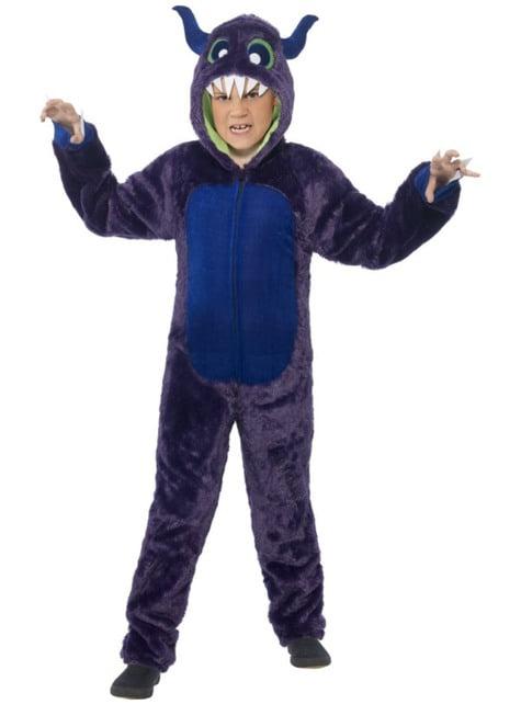 Costum de monstru blănos mov pentru băiat