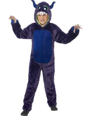 Disfraz de monstruo peludo morado para niño