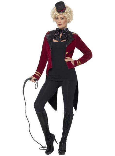 Disfraz de domador de circo rojo para mujer