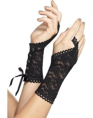 Spitzen-Handschuhe schwarz für Damen