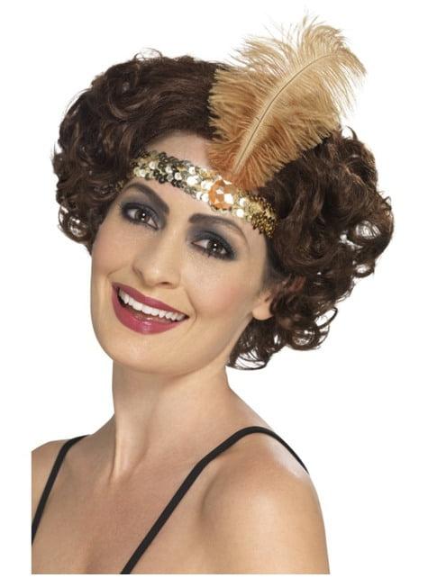 Cinta para el pelo de años 20 dorada para mujer