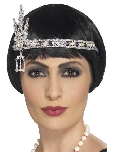 Cinta para el pelo de años 20 plateada para mujer