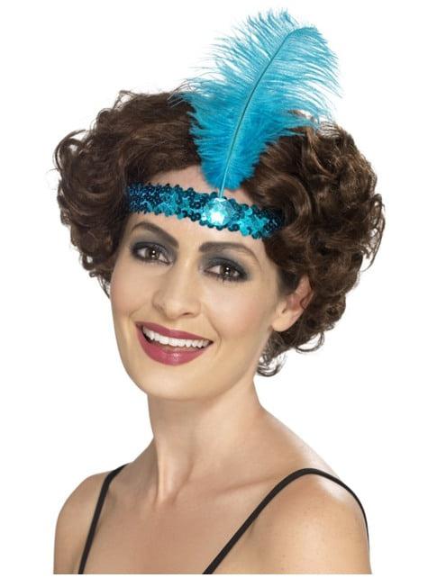 Cinta para el pelo de años 20 azul claro para mujer