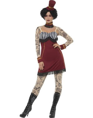 Costume da domatrice di circo con tatuaggi per donna