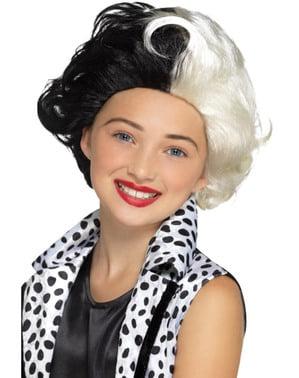 Bösewichtin Cruella Perücke für Mädchen