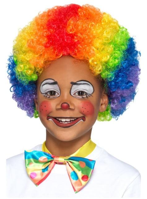 Peluca rizada de payaso multicolor infantil