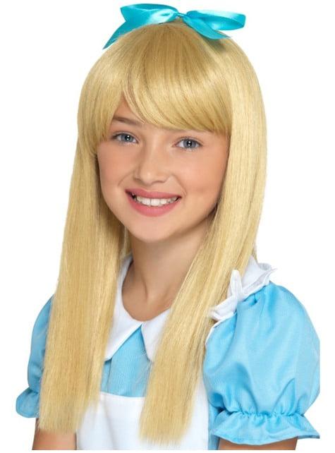 Blonde wonderland prinses pruik voor meisjes