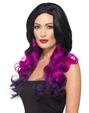 Perruque sorcière deluxe violette femme