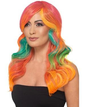 Perruque multicoloree de sirène