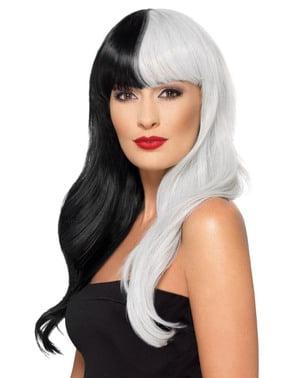 Deluxe hvit og svarte hekse parykk til dame