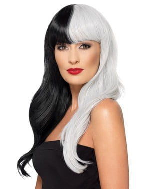 Deluxe white and black witch wig for women