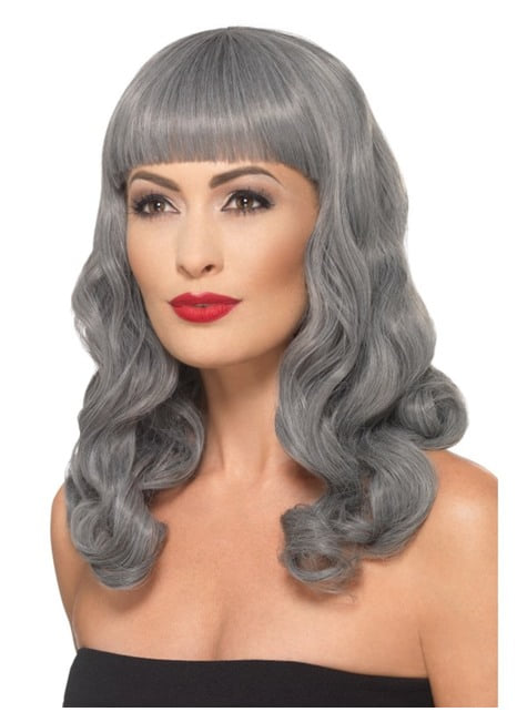 Peluca gris para mujer