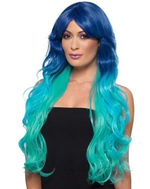 Perruque sirène licorne turquoise femme