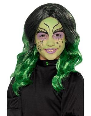 Zielona peruka czarownicy dla dziewczynek