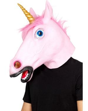 Máscara de unicórnio rosa para adulto