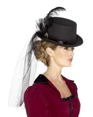 Chapéu victoriano com pluma e véu preto para adulto