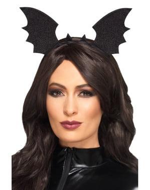 Zwarte vleermuis haarband voor vrouw