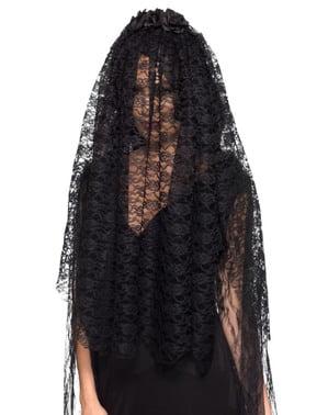 Czarny welon dla kobiet