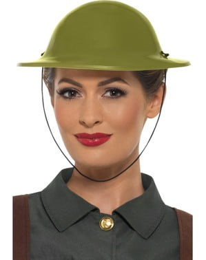 Green British soldier helmet for adults